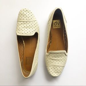 Dolce Vita Cream Laser Cut Leather Loafers 7